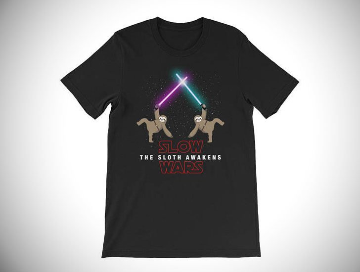 Slow Wars The Sloth Awakens Funny Parody T-Shirt
