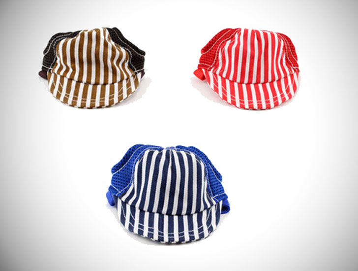 Striped Baseball Dog Hats