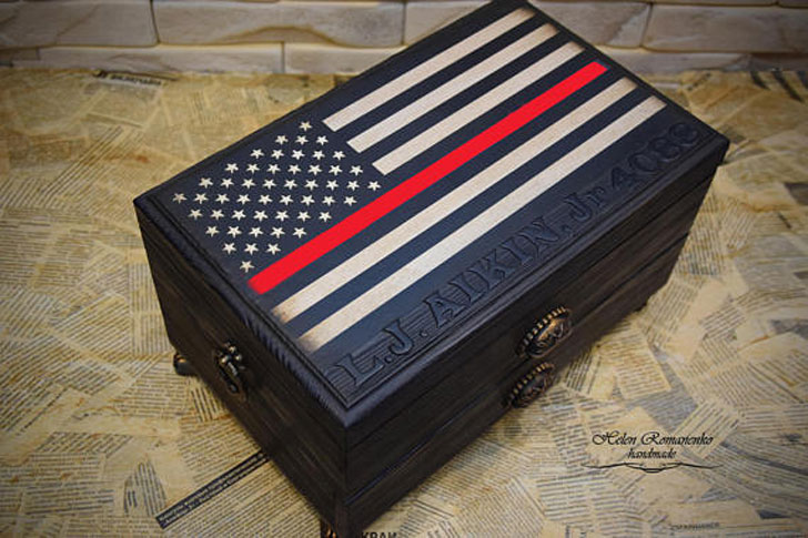 Thin Red Line American Flag Watch Box