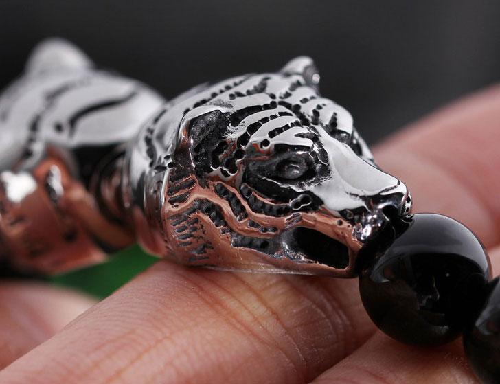 Tiger Head Bead Chain Bracelet