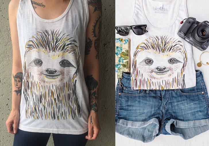 Unique Sloth Art T-Shirt