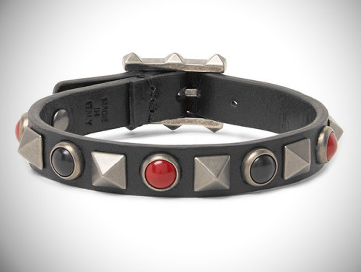 Valentino Leather, Silver-Tone and Stone Bracelet