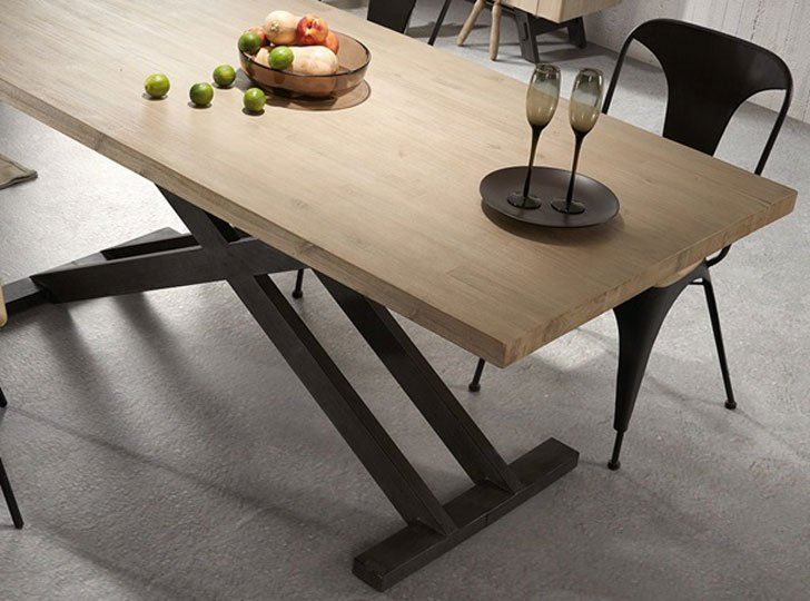 Vita Cross Legged Dining Table In Black And Acacia