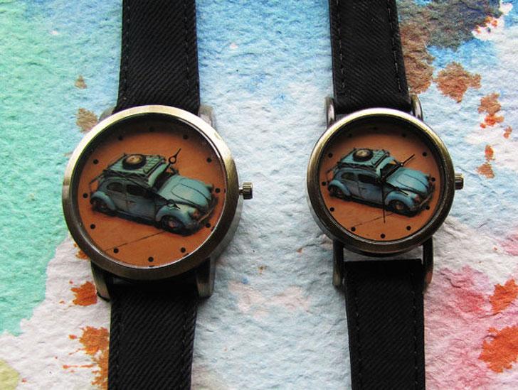 VosVos Pattern Denim Print Couple Watches