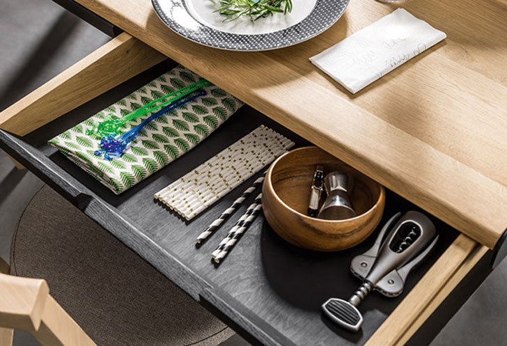 Vox Oak Dining Table with Built-In Trivet