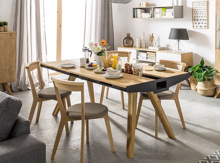 Vox Oak Dining Table with Built-In Trivet - Unique dining tables