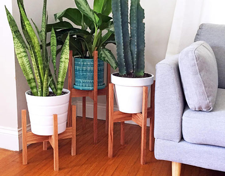 3 Piece Mid Century Indoor Plant Stand Set