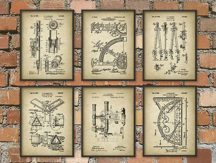 Architect Tools Patent Prints Set of 6