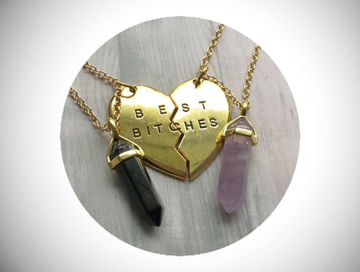 Best Bitches Gold Crystal Friendship Necklaces