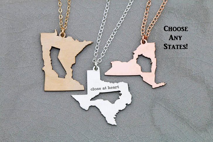 Best Friend State Necklaces