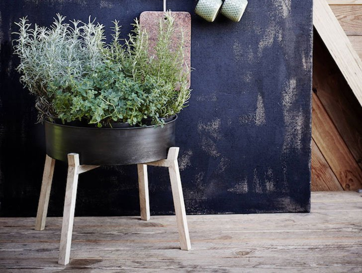Blackened Metal Planter or Side Table On A Stand