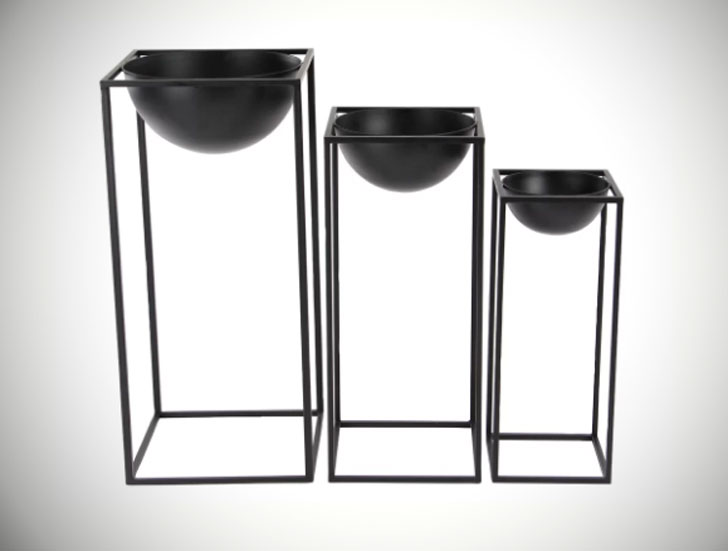 Cameley 3 Piece Modern Iron Bowl Nesting Plant Stand Set