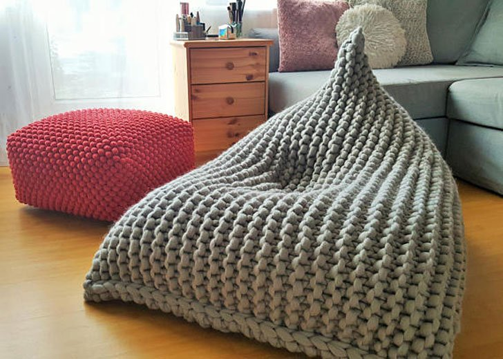 Chunky Merino Wool Bean Bag Chair