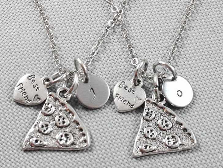 Custom Initial Pizza Slice Friendship Necklaces