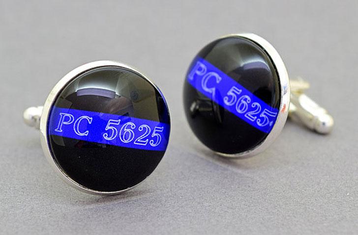 Custom Shoulder / Badge Number Thin Blue Line Cufflinks - gifts for police officers