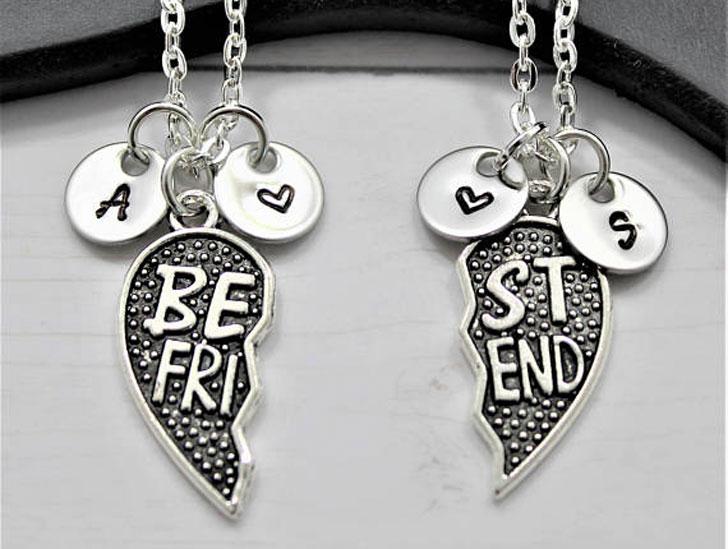 Customizable Initial Disc Best friend Charm Necklaces - best friendship necklaces
