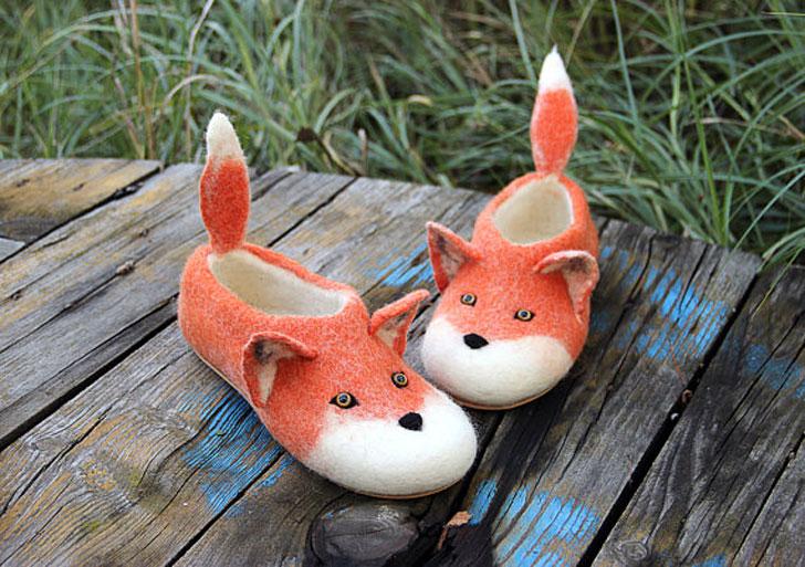 Cute Handmade Eco Wool Animal Slippers