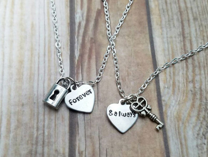 Forever and Always Lock and Key Necklace Set - best friendship necklaces