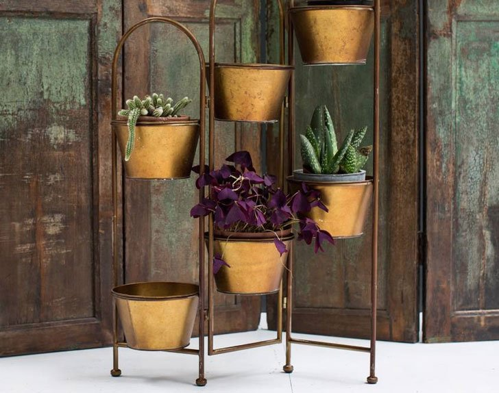 Galvanised Copper Plant Stand