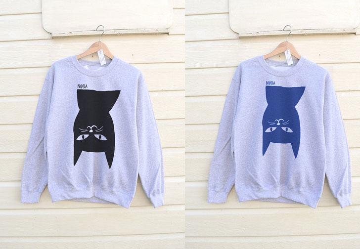 His or Hers Ninja Cat Sweatshirt - Cat Gifts For Cat Lovers