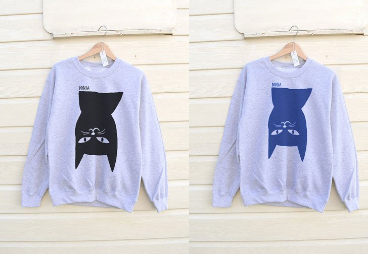 His or Hers Ninja Cat Sweatshirt - Cat Gifts For Cat Lovers