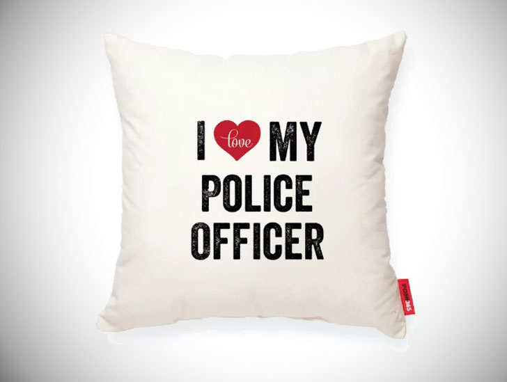 I Heart Police Cotton Throw Pillows - gifts for police officers