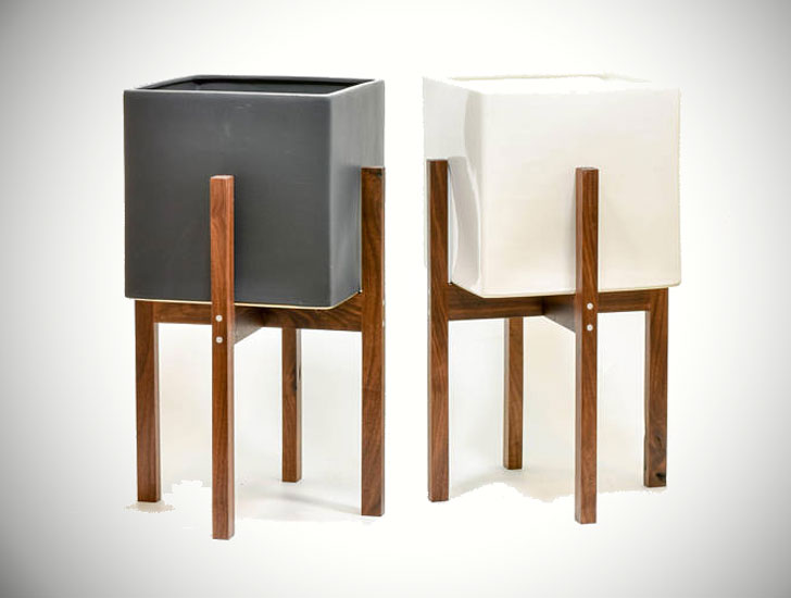 Large Cube Mid Century Modern Indoor Plant Stands