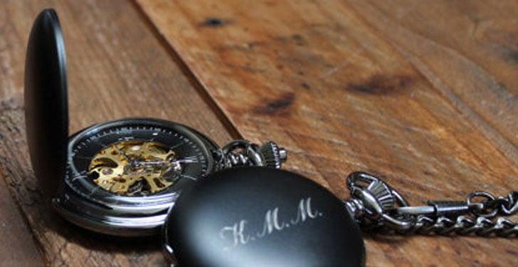 Matte Black Personalised Pocket Watch