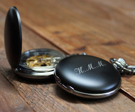 Matte Black Personalised Pocket Watch