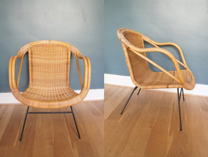 Mid Century Boho Wicker Hoop Chair