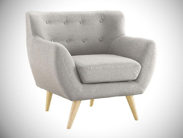 Mid-Century Modern Tufted Bedroom Armchair