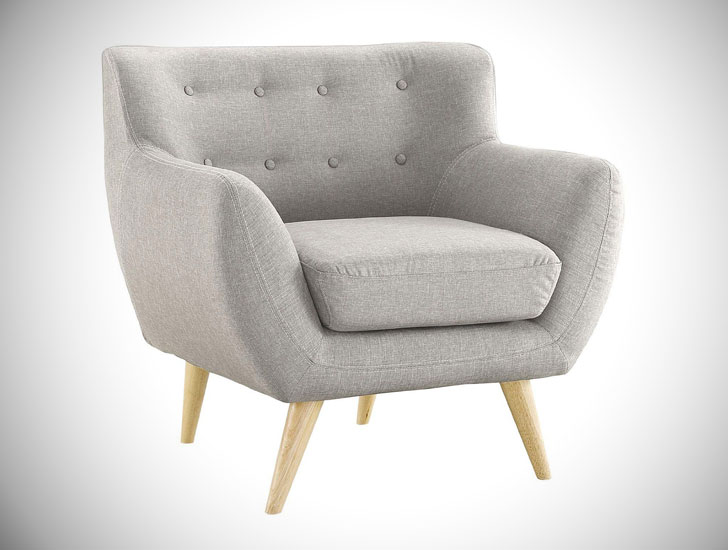 Mid-Century Modern Tufted Bedroom Armchair