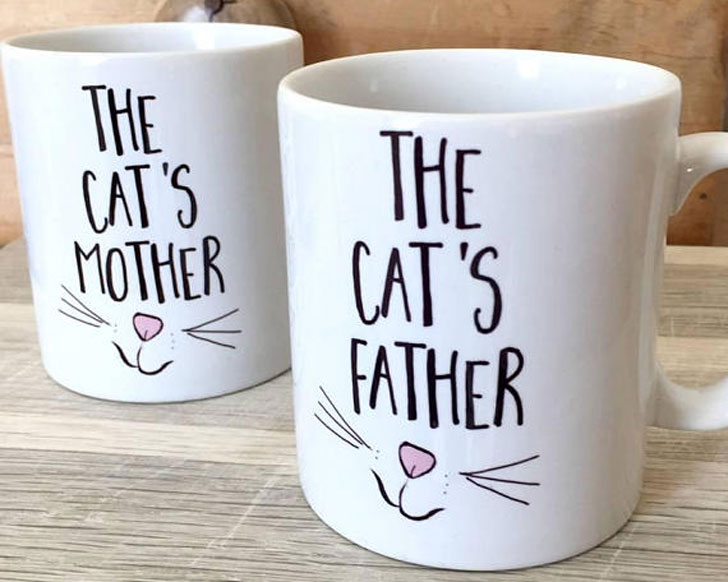 Pair of Cat Mother & Father Couples Mugs - Cat Gifts For Cat Lovers