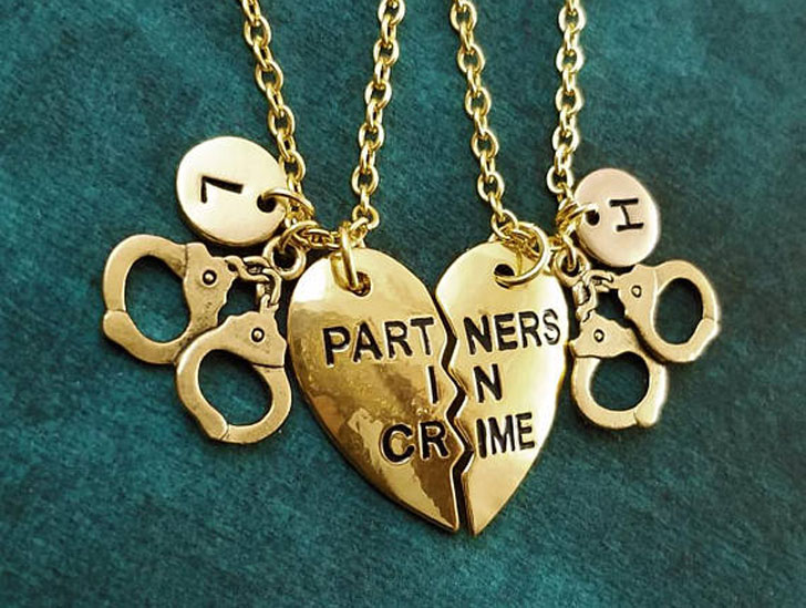 Partners in Crime Broken Heart Handcuffs Necklaces - best friendship necklaces