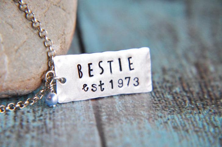 Permanent Date Mark Bestie EST. Necklaces - best friendship necklaces