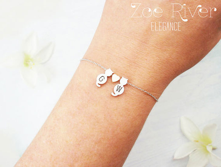 Personalized Initials Dainty 2 Cat Heart Bracelet