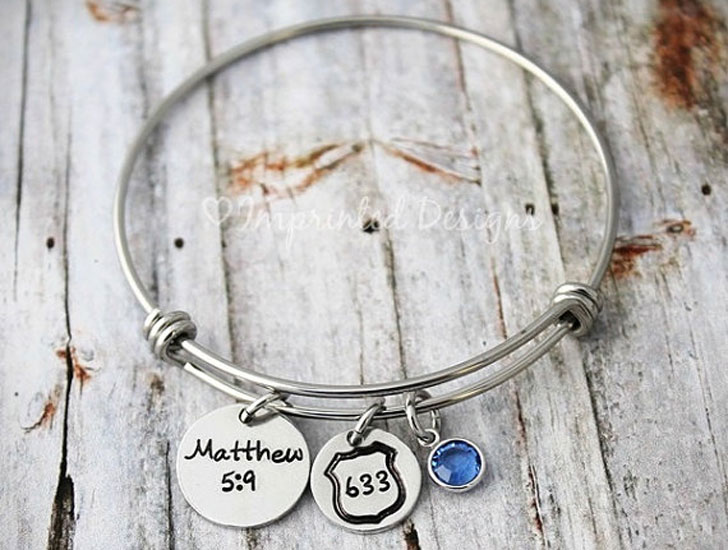 Personalized Police Officers Charm Bracelet
