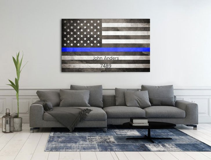 Personalized Thin Blue Line Flag Wall Art - gifts for police officers