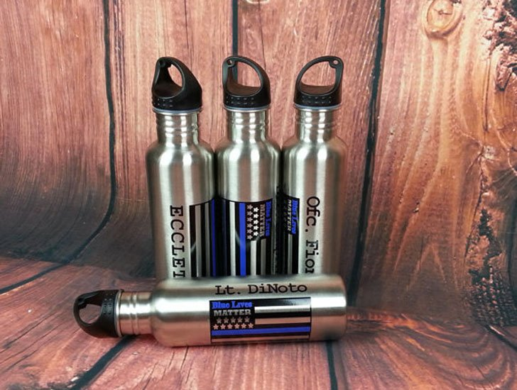 Personalized Thin Blue Line Stainless Steel Water Bottle