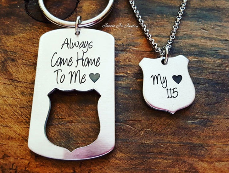 Police Badge Keychain & Necklace - gifts for police officers