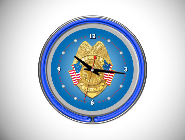Police Officer Double Ring Neon Wall Clock