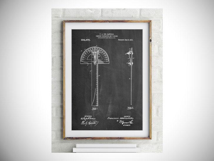 Protractor T-Square Patent Poster