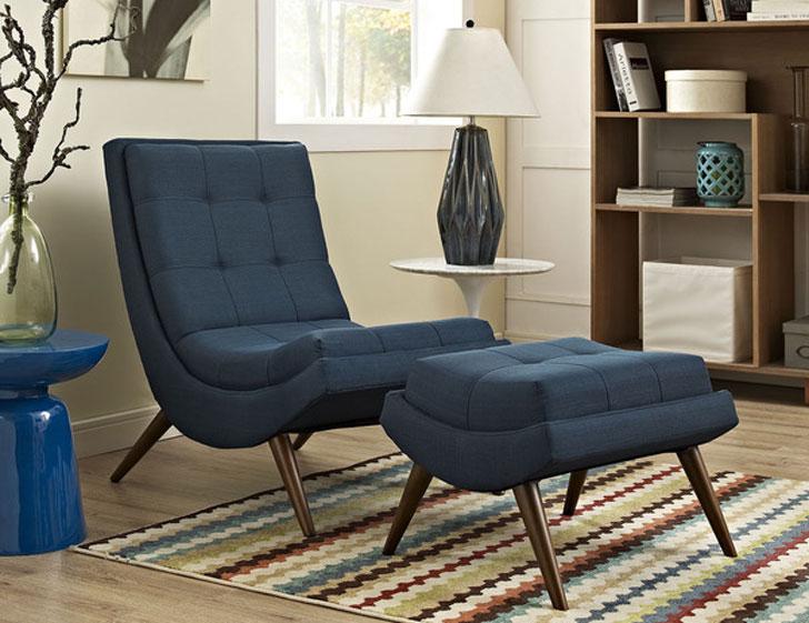 Ramp Fabric Lounge Chair and Ottoman
