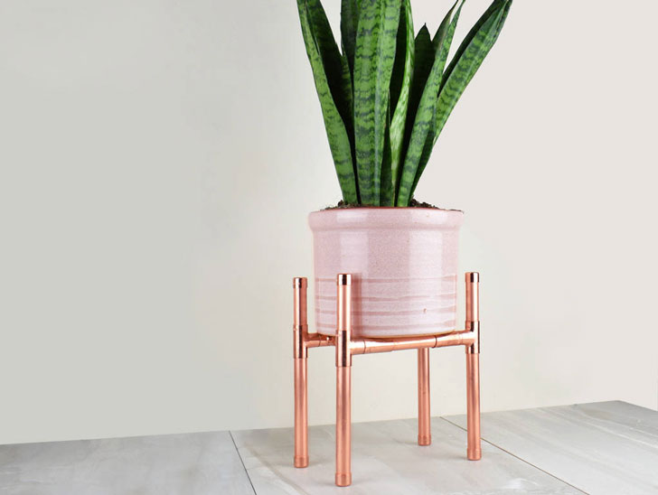 10 Rectangle Copper Indoor Plant Stand