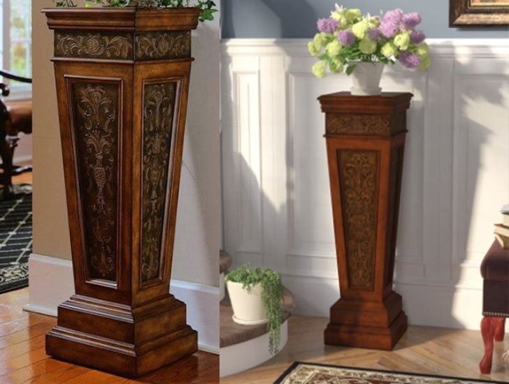 and pedestal stand silver antique pedestals white design regency marble creative style with top plant italian