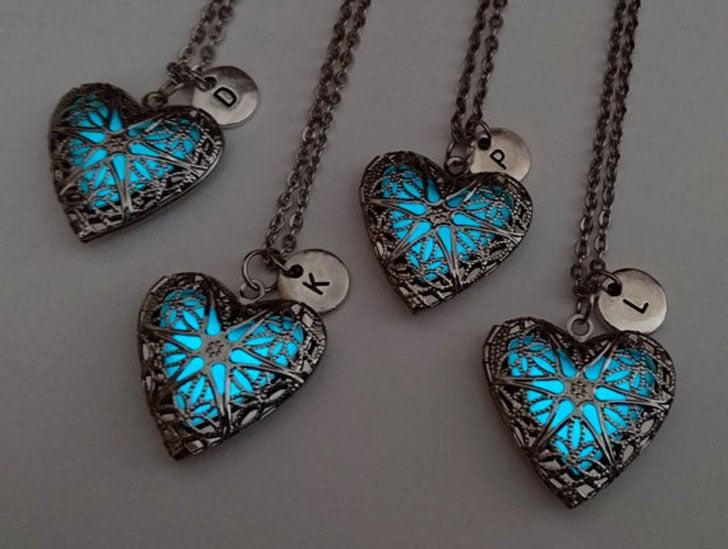 Set of 4 Best Glow in the Dark Heart Lockets