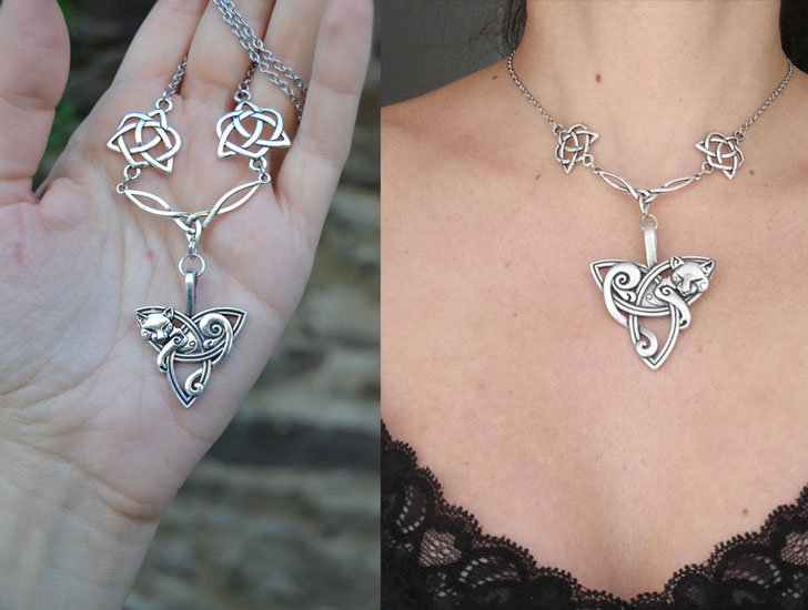 Silver Celtic Cat Necklace