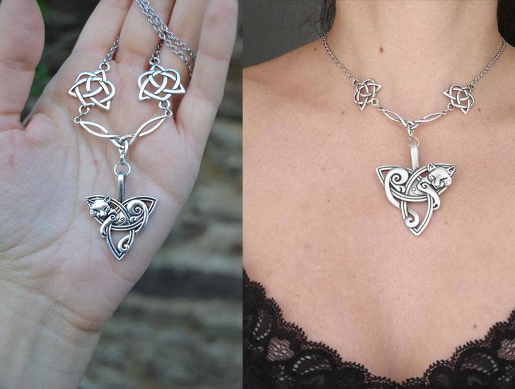 Silver Celtic Cat Necklace