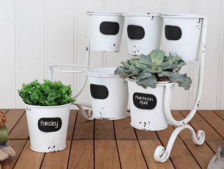 Six Pot Metal Plant Display Stand