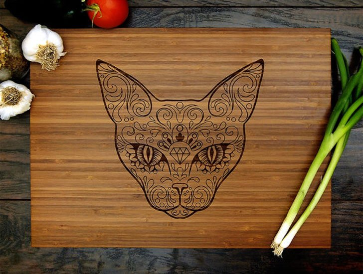 Sugar Skull Cat Cutting Board - Cat Gifts For Cat Lovers
